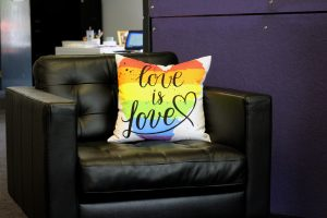 Love is love pillow at the Sac LGBT Center
