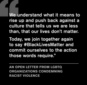 We understand what it means to rise up and push back against a culture that tells us we are less than, that our lives don't matter. Today, we join together again to say #BlackLivesMAtterand commit ourselves to the action those words require.